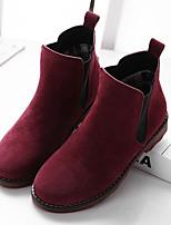 Недорогие -Жен. Обувь Кожа Наступила зима Удобная обувь Ботинки На плоской подошве Ботинки Черный / Хаки / Вино