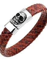 abordables -Homme Bracelets Rigides / Bracelets en cuir - Acier inoxydable, Cuir Crâne Classique, Rétro, Mode Bracelet Bleu de minuit / Café / Marron Pour Cadeau / Plein Air
