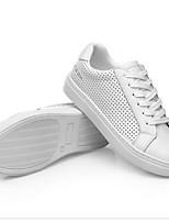 Недорогие -Жен. Обувь Кожа Весна лето Удобная обувь Кеды На плоской подошве Круглый носок Белый