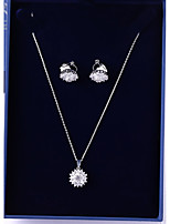 cheap -Women's Cubic Zirconia Jewelry Set - Daisy Vintage, Fashion Include Drop Earrings / Pendant Necklace White For Wedding / Going out