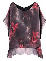 Недорогие -женская кофточка - сплошная цветная цветочная круглая шея