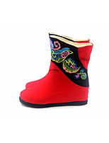 cheap -Women's Shoes Fabric / Cotton Winter Pom-pom Shoes / Comfort Boots Flat Heel Mid-Calf Boots for Black / Red