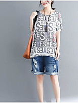 cheap -Women's Vintage T-shirt - Solid Colored / Geometric Black & White, Tassel / Print