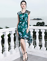 cheap -Blueskybutterfly Women's Basic / Sophisticated Butterfly Sleeves A Line Dress - Floral Print