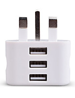 cheap -Portable Charger USB Charger UK Plug 3 USB Ports 2.1 A 100~240 V