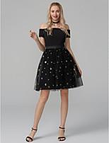 preiswerte -Ballkleid Schulterfrei Kurz / Mini Elasthan Tüll Pailletten Cocktailparty / Abiball Kleid mit Schärpe / Band durch TS Couture®