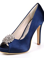 abordables -Femme Chaussures Satin Printemps Escarpin Basique Chaussures de mariage Talon Aiguille Bout ouvert Strass pour Mariage Soirée & Evénement