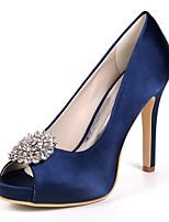 cheap -Women's Shoes Satin Spring Basic Pump Wedding Shoes Stiletto Heel Peep Toe Rhinestone Red / Champagne / Ivory