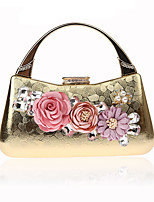 cheap -Women's Bags PU / Alloy Evening Bag Crystals / Flower Black / Red / Silver