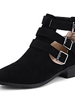 cheap -Women's Shoes Nubuck leather Spring & Summer Combat Boots Boots Chunky Heel Pointed Toe Mid-Calf Boots Buckle Black / Beige / Dark Brown