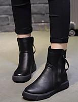 Недорогие -Жен. Обувь Полиуретан Наступила зима Армейские ботинки Ботинки На плоской подошве Круглый носок Сапоги до середины икры Черный /