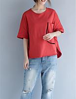 abordables -Tee-shirt Femme, Couleur Pleine Basique