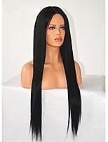 Недорогие -Не подвергавшиеся окрашиванию Парик Бразильские волосы Прямой 130% плотность С детскими волосами Нейтральный Длинные Жен. Парики из