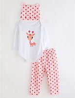 cheap -Toddler Girls' Solid Colored Polka Dot Long Sleeves Clothing Set