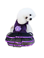 cheap -Pets Dress Dog Clothes Voiles & Sheers / Flower / Floral Purple / Blue Cotton / Polyester / Net Costume For Pets Flower Style / Cute Style