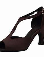 cheap -Women's Latin Shoes Silk Heel Stiletto Heel Dance Shoes Coffee / Performance / Leather / Practice