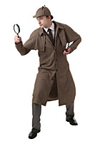 cheap -Detective Costume Men's Costume Dark Brown Vintage Cosplay Linen / Cotton Blend Long Sleeve