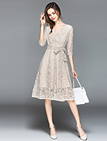 cheap -SHIHUATANG Women's Street chic / Sophisticated A Line Dress - Paisley Lace / Bow