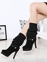 Недорогие -Жен. Обувь Кашемир Зима Удобная обувь Ботинки На толстом каблуке для Черный Коричневый