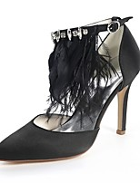 cheap -Women's Shoes Satin Spring & Summer Basic Pump Heels Stiletto Heel Pointed Toe Rhinestone / Feather White / Black / Wedding