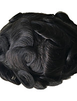 cheap -Men's Human Hair Toupees Curly Full Lace Cool