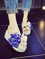 preiswerte -Damen Schuhe PVC Leder Sommer Komfort Slippers & Flip-Flops Creepers für Normal Weiß Schwarz