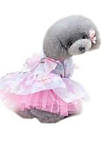 preiswerte -Haustiere Kleider Hundekleidung Voiles und Sheers / Blume / Blumen / Pflanzen Purpur / Rosa Baumwolle / Polyester / Netz Kostüm Für