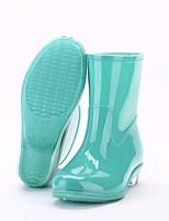 Недорогие -Жен. Обувь ПВХ Наступила зима Резиновые сапоги Ботинки На низком каблуке Круглый носок Сапоги до середины икры Зеленый / Синий / Розовый
