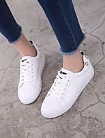 abordables -Femme Chaussures Cuir Printemps Automne Confort Basket Talon Plat pour Décontracté Blanc