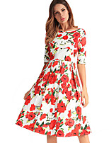 cheap -TS - Dreamy Land Women's Basic Swing Dress - Floral Print