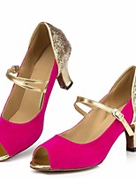 cheap -Women's Latin Shoes Nubuck leather Heel Performance / Practice Stiletto Heel Dance Shoes Fuchsia