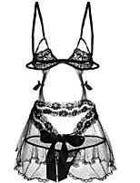 cheap -Women's Babydoll & Slips Nightwear - Lace / Cut Out / Bow, Solid Colored