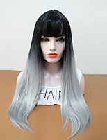cheap -Synthetic Wig Straight Layered Haircut Heat Resistant With Bangs Ombre Hair High Quality Gray Women's Capless Natural Wigs Long Synthetic
