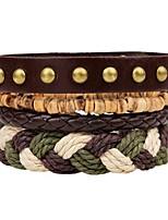 abordables -Effets superposés / Empiler Bracelets en cuir - Mode, Multicouches Bracelet Marron Pour Cérémonie / Plein Air / 4pcs