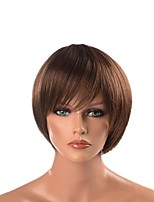 cheap -Cosplay Suits / Synthetic Wig / Costume Wigs Straight Layered Haircut Synthetic Hair Heat Resistant / Synthetic / Designers Dark Brown Wig