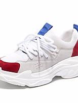 abordables -Femme Chaussures Tulle Cuir Printemps été Confort Basket Talon Plat Bout rond pour Décontracté Rose et blanc Blanc et vert