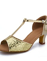 cheap -Women's Latin Shoes Paillette / Leatherette Sandal / Heel Buckle / Paillette Cuban Heel Customizable Dance Shoes Gold / Performance