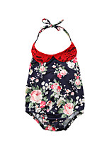 Недорогие -малыш Девочки Цветочный принт / Контрастных цветов Без рукавов Bodysuit