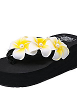cheap -Women's Shoes PU Summer Comfort Slippers & Flip-Flops Wedge Heel for Casual White Black Pink
