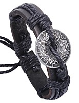 Недорогие -Муж. Кожаные браслеты - Кожа Этнический, Мода Браслеты Черный / Кофейный Назначение Повседневные / Официальные