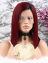 cheap -Remy Human Hair Wig Brazilian Hair Straight Short Bob 130% Density Coloring Red Short / Mid Length Women's Human Hair Lace Wig