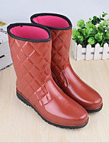 abordables -Femme Chaussures Similicuir Printemps été Bottes de pluie Bottes Hauteur de semelle compensée Bout rond pour De plein air Rouge / Kaki