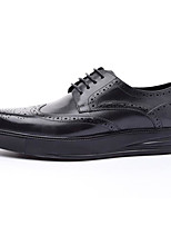 Недорогие -Муж. обувь Наппа Leather / Кожа Осень Удобная обувь Туфли на шнуровке Черный / Вино