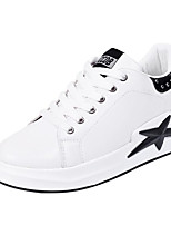 cheap -Women's Shoes PU Spring Comfort Sneakers Flat Heel for Casual Black Gray Pink
