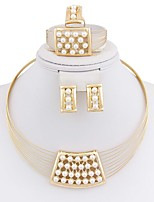 cheap -Women's Jewelry Set - Gold Plated Simple, Fashion Include Hoop Earrings / Statement Necklace / Ring Gold For Wedding / Gift