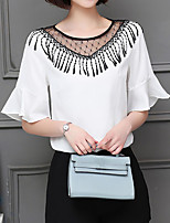 cheap -Women's T-shirt - Solid Colored Tassel
