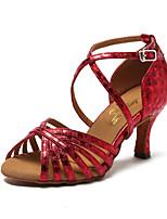 Недорогие -Жен. Обувь для латины Искусственная кожа Кроссовки В мелкую точку Тонкий высокий каблук Персонализируемая Танцевальная обувь Золотой /