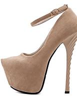 baratos -Mulheres Sapatos Flocagem Verão Plataforma Básica Saltos Salto Agulha Peep Toe Preto / Amêndoa / Festas & Noite
