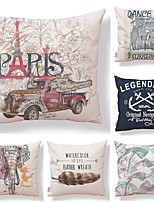 cheap -6 pcs Textile / Cotton / Linen Pillow case, Art Deco / Simple / Printing Square Shaped / European Style