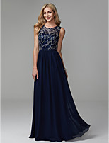 cheap -A-Line Jewel Neck Floor Length Chiffon / Lace Prom / Formal Evening Dress with Beading / Pleats by TS Couture®